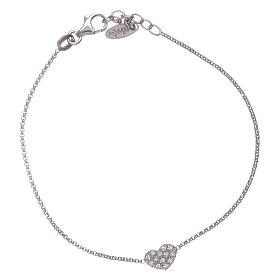 AMEN bracelets: AMEN 925 sterling silver bracelet finished in rhodium with a zircon heart
