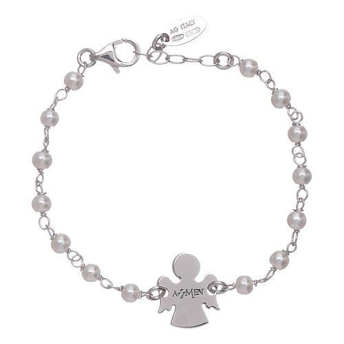 Bracciale junior perle Swarovski e angioletto AMEN arg 925 2