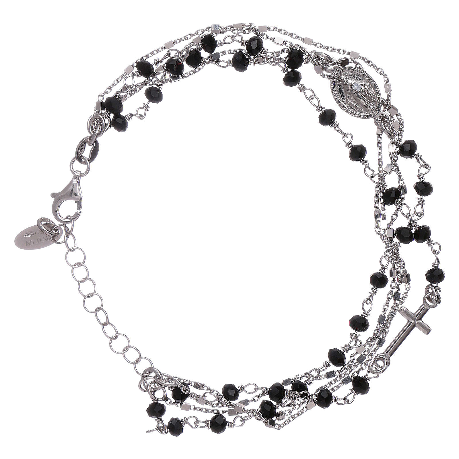 Bracelet argent 925 cristaux noirs AMEN 4