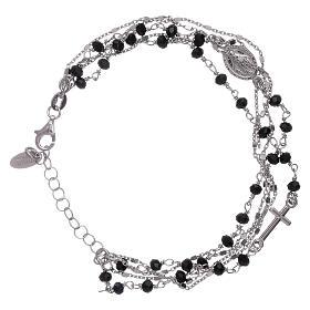 Bracelet argent 925 cristaux noirs AMEN s1