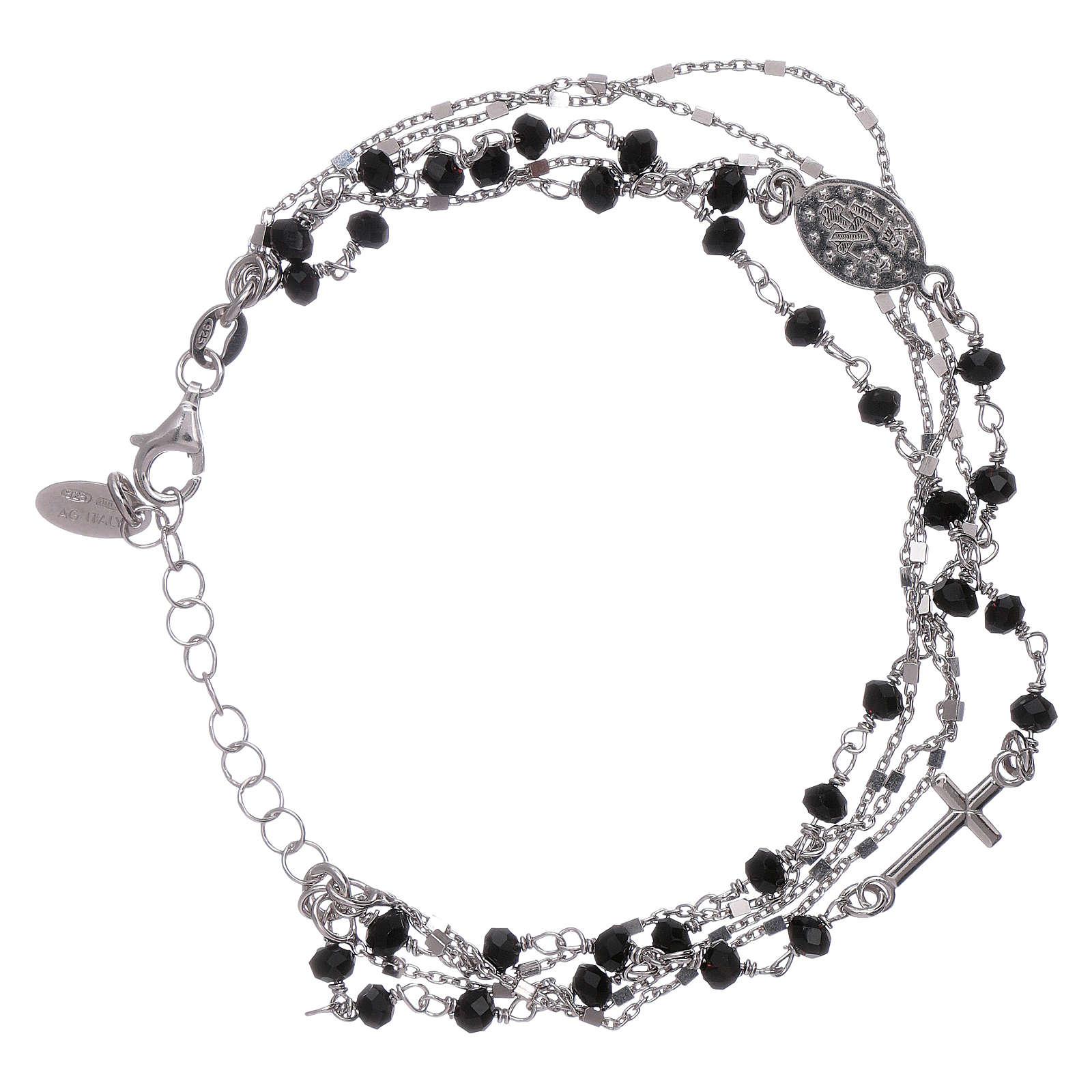 Bracciale arg 925 cristalli nero Amen 4