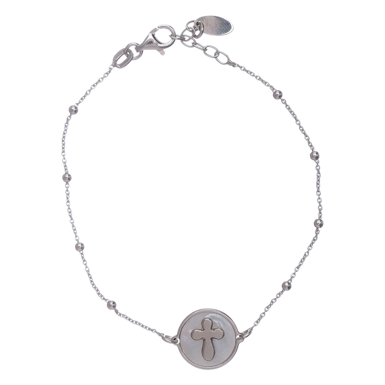 Bracciale croce madreperla Amen arg 925 4