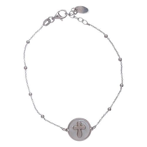 Bracciale croce madreperla Amen arg 925 1