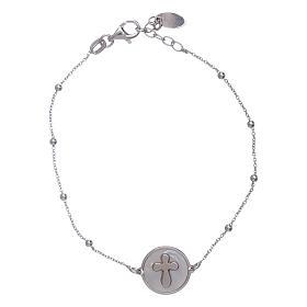 AMEN bracelets: AMEN 925 sterling silver bracelet with a mother of pearl cross