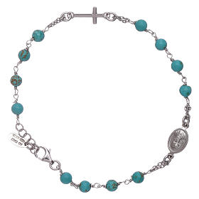 AMEN 925 sterling silver  rosary bracelet with turquoise beads s2