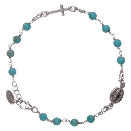 AMEN 925 sterling silver  rosary bracelet with turquoise beads 1