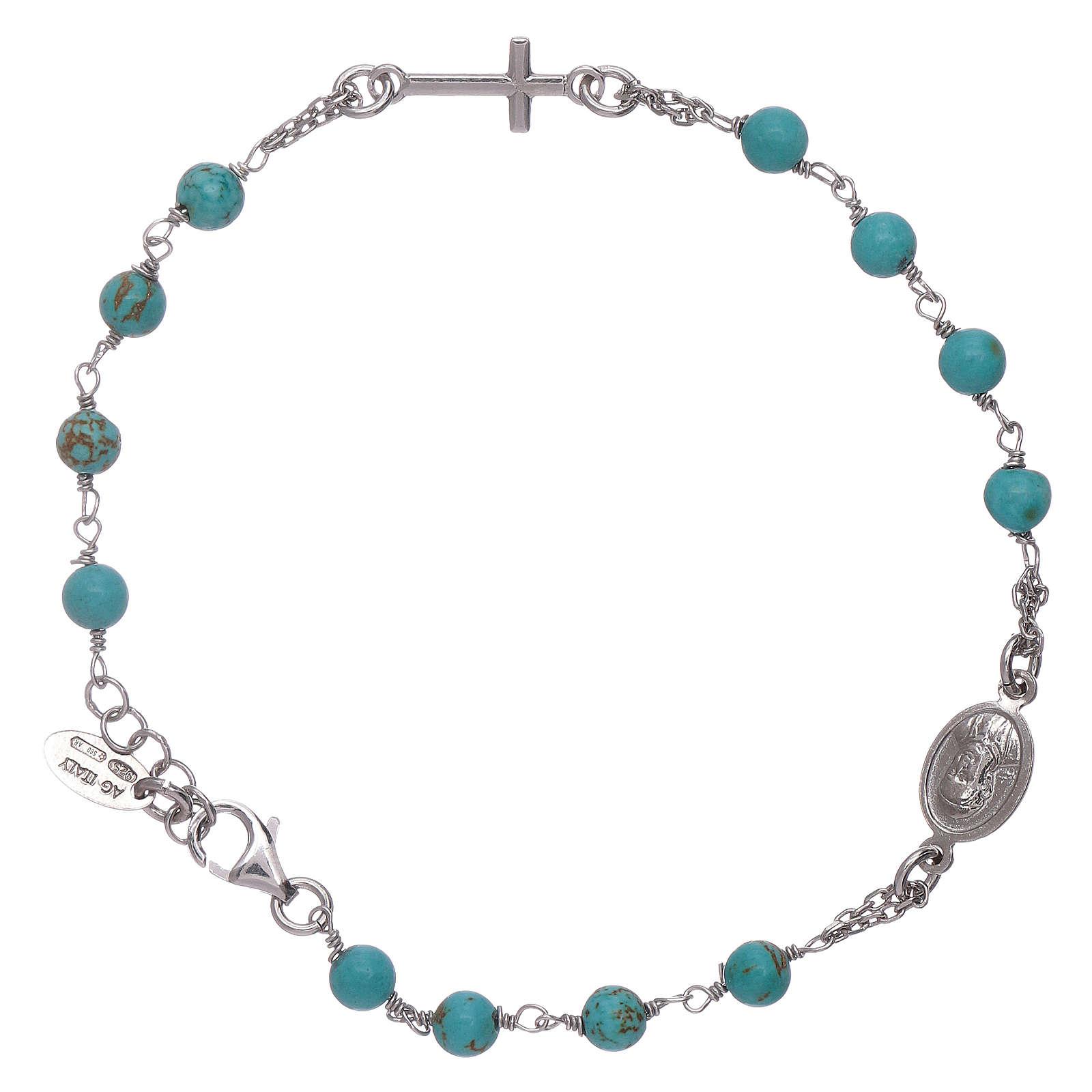 Pulsera rosario bolitas turquesas Amen plata 925 4