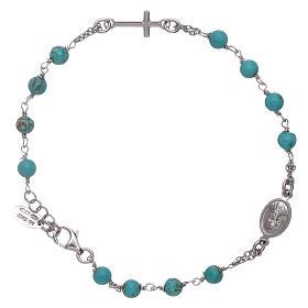 Pulsera rosario bolitas turquesas Amen plata 925 s2