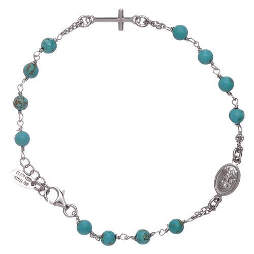 Pulsera rosario bolitas turquesas Amen plata 925 2