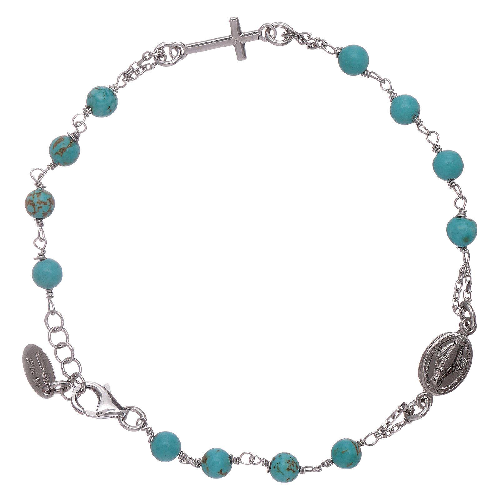 Bracelet chapelet perles turquoise AMEN argent 925 4
