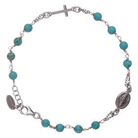 Bracelet chapelet perles turquoise AMEN argent 925 s1