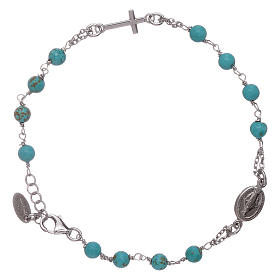 AMEN 925 sterling silver  rosary bracelet with turquoise beads s1