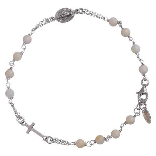 AMEN 925 sterling silver rosary bracelet with mother of pearl beads 1