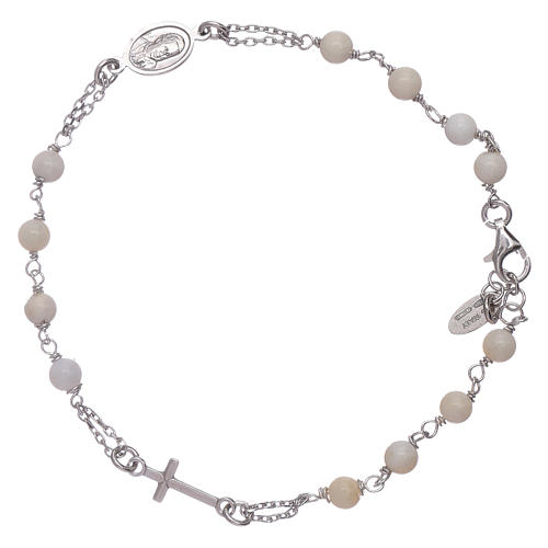 AMEN 925 sterling silver rosary bracelet with mother of pearl beads 2