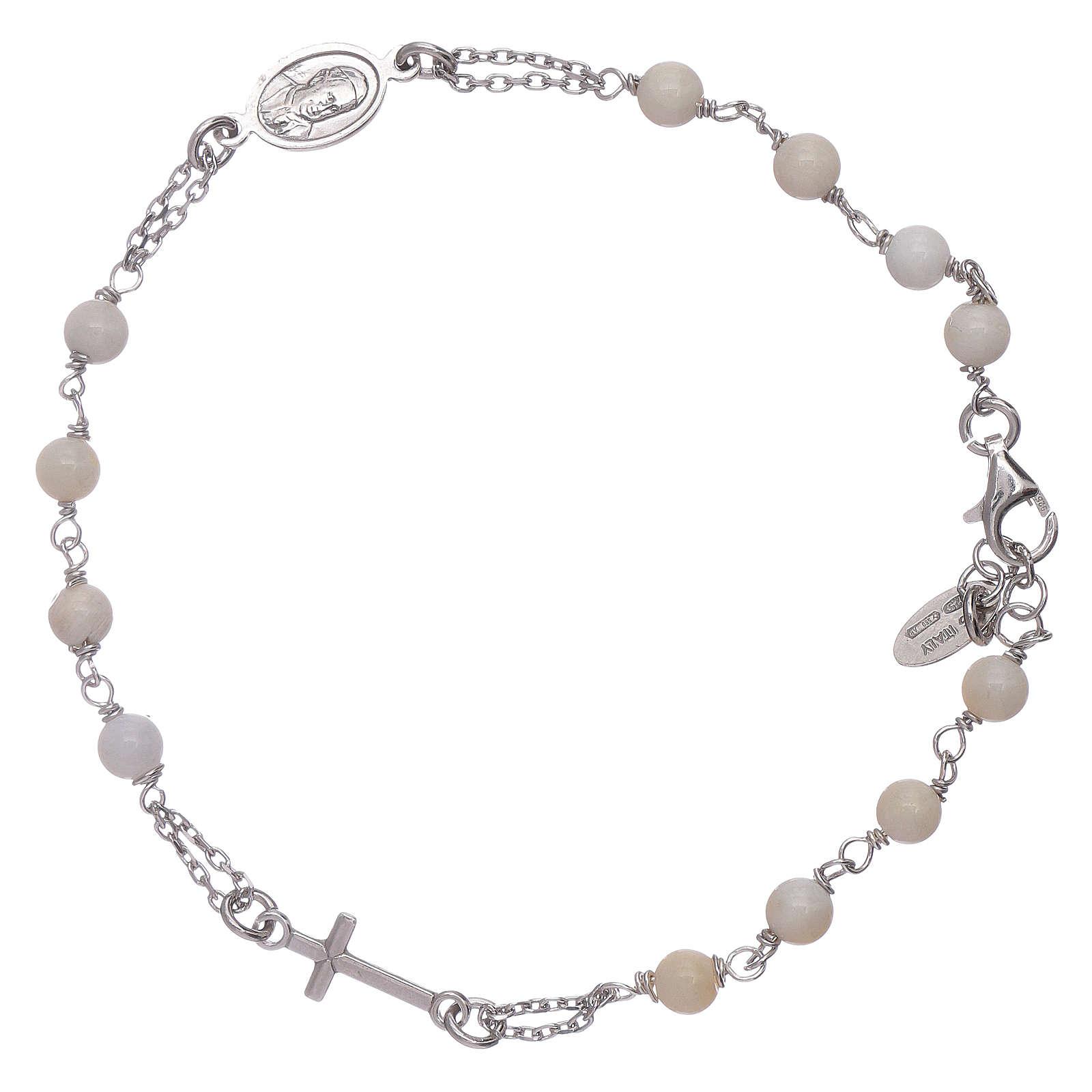 Pulseira terço madrepérola AMEN prata 925 4