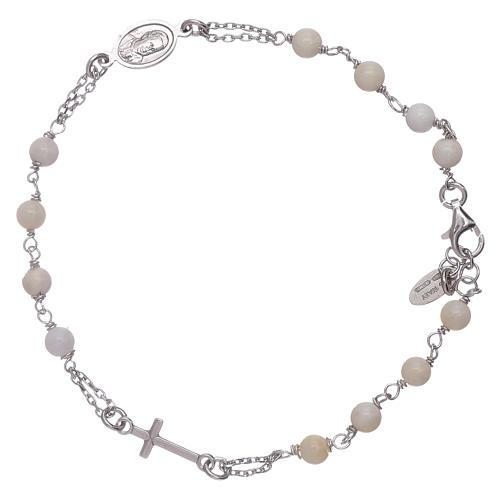 Pulseira terço madrepérola AMEN prata 925 2