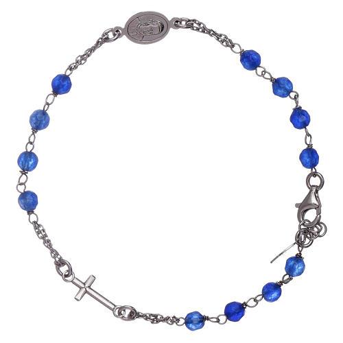 Bracciale rosario Amen arg 925 giada blu 2