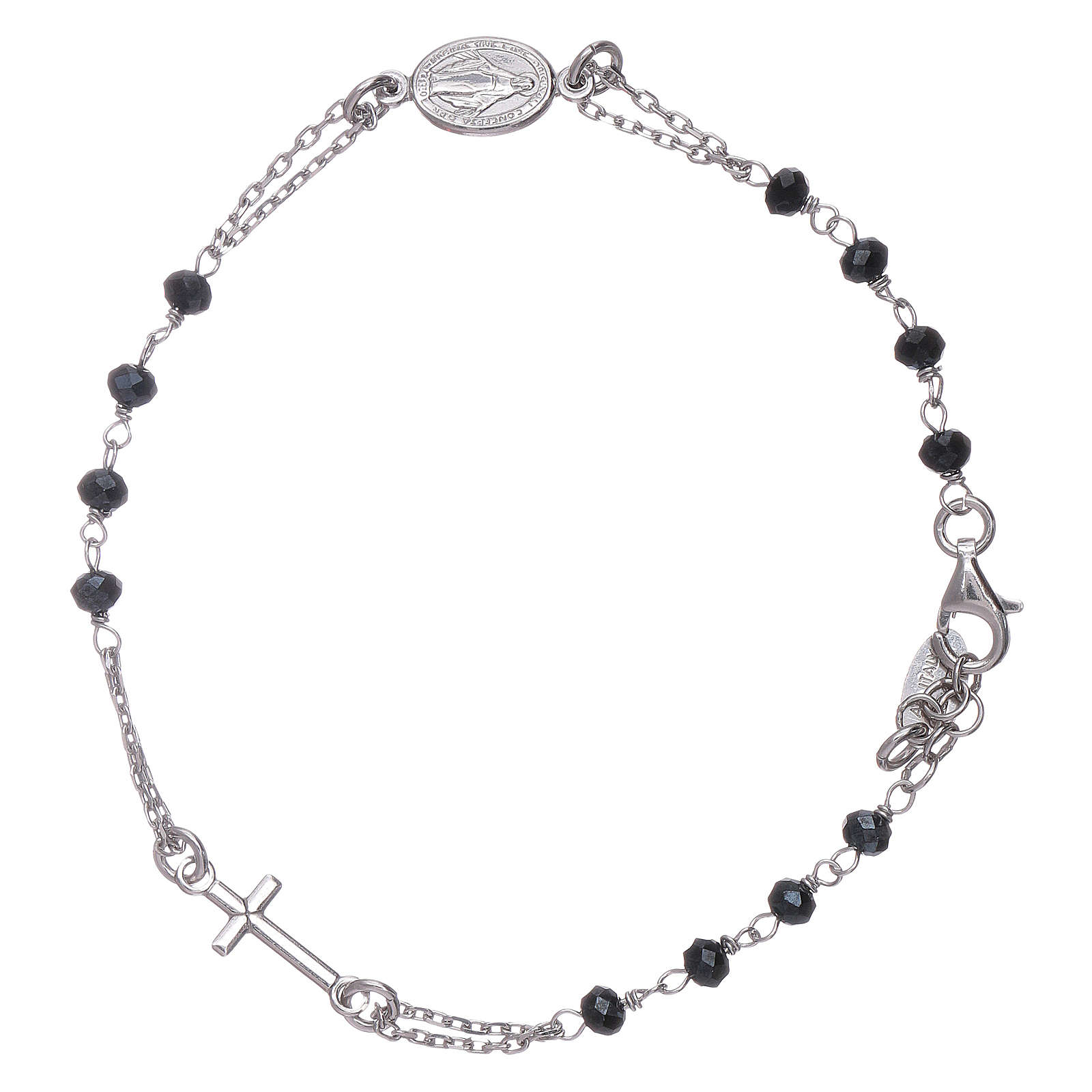 AMEN 925 sterling silver rosary bracelet with grey crystals 4