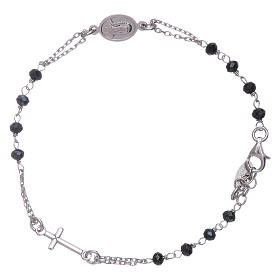 AMEN 925 sterling silver rosary bracelet with grey crystals s1