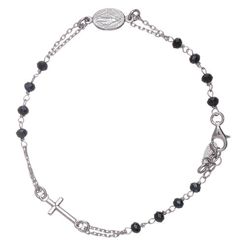 AMEN 925 sterling silver rosary bracelet with grey crystals 2