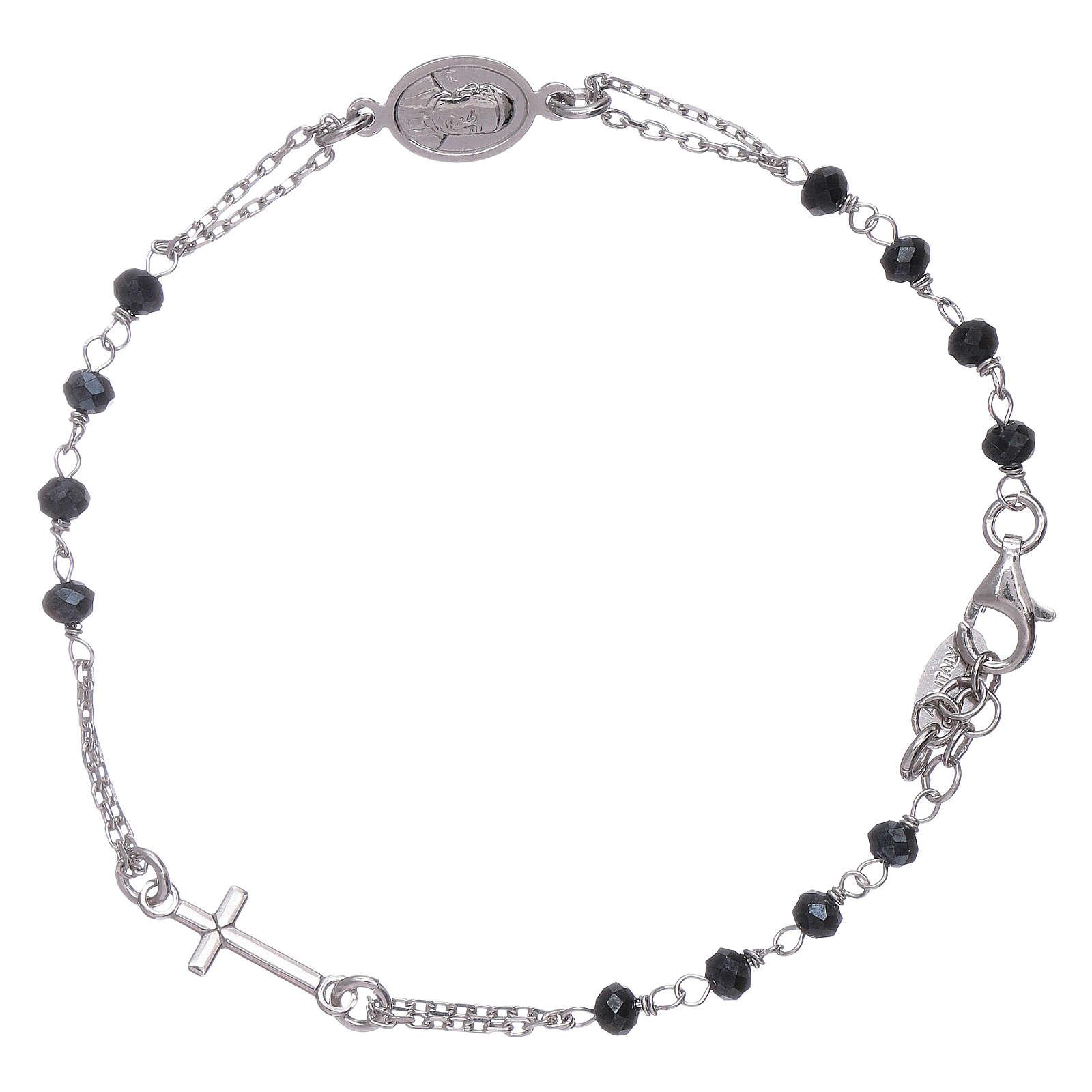 Pulsera rosario cristales grises Amen plata 925 4