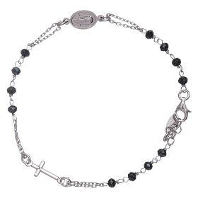 Pulsera rosario cristales grises Amen plata 925 s1