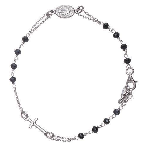 Pulsera rosario cristales grises Amen plata 925 2