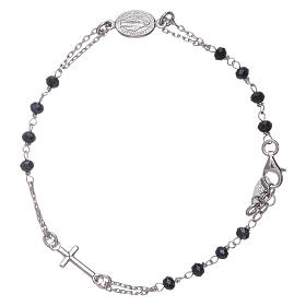 AMEN 925 sterling silver rosary bracelet with grey crystals s2