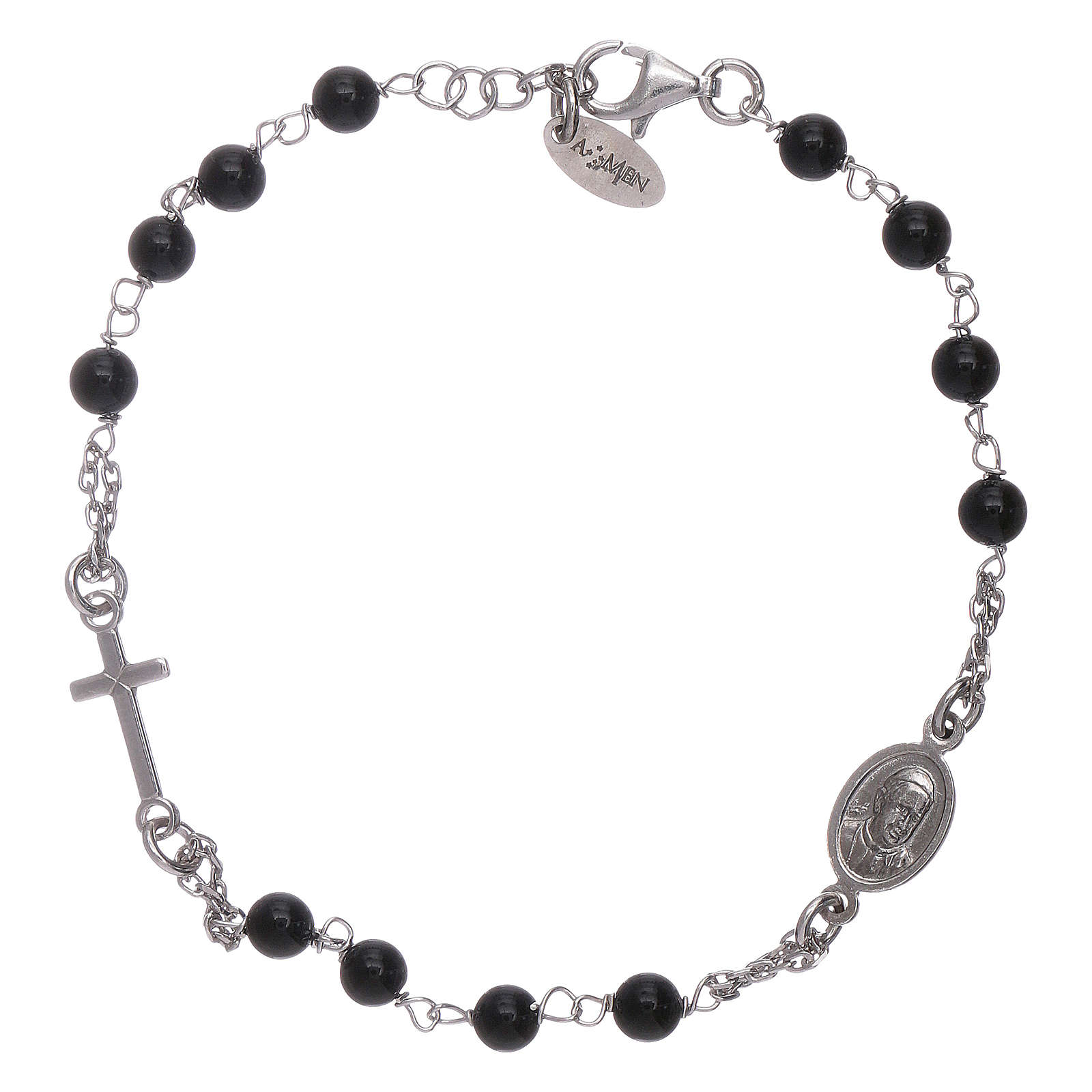 AMEN 925 sterling silver rosary bracelet with black agate beads 4