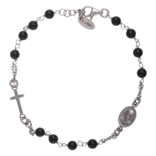 AMEN 925 sterling silver rosary bracelet with black agate beads 2