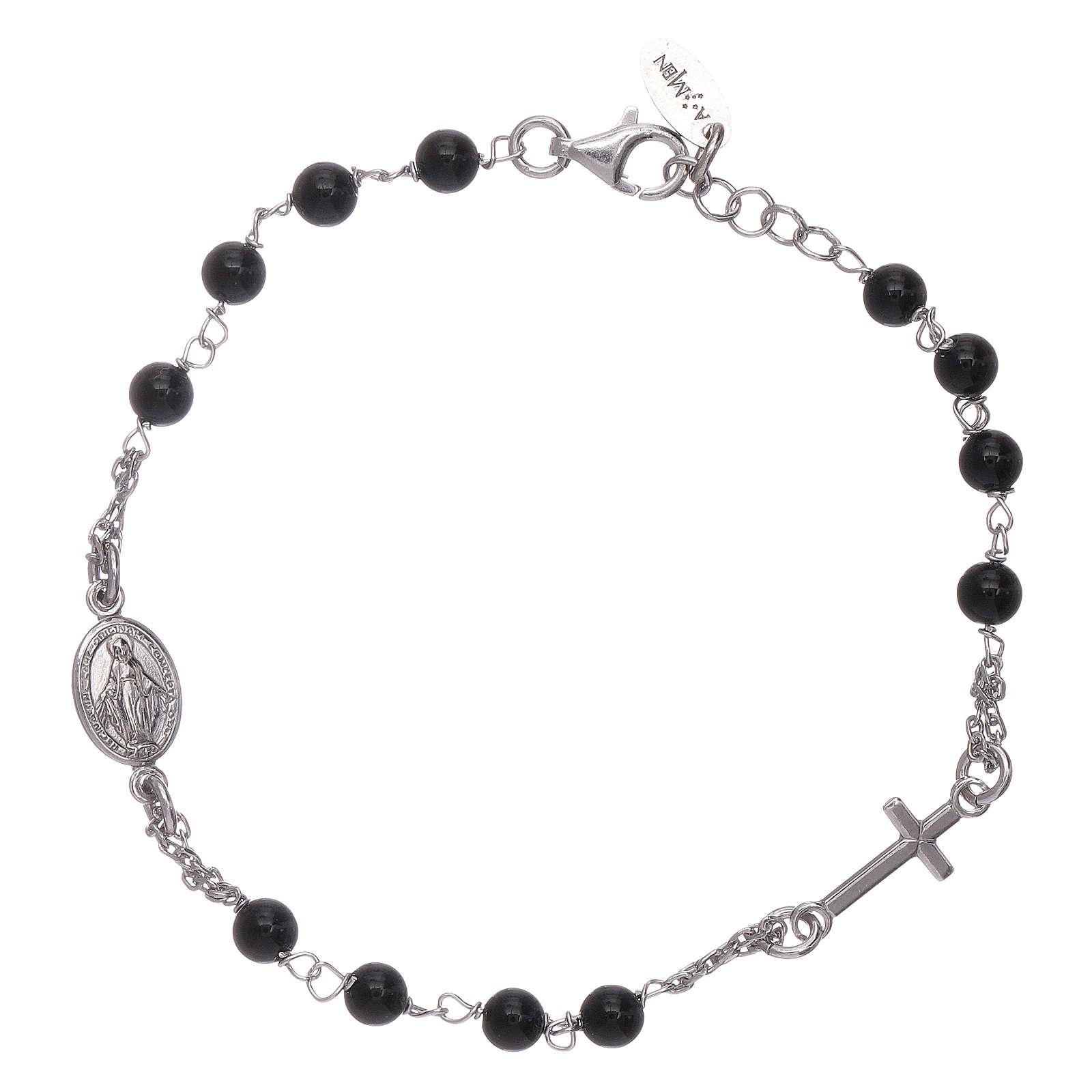 Pulsera rosario Amen plata 925 ágata negra 4