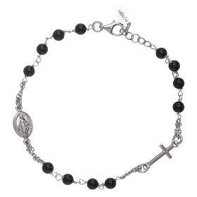 Pulsera rosario Amen plata 925 ágata negra s1