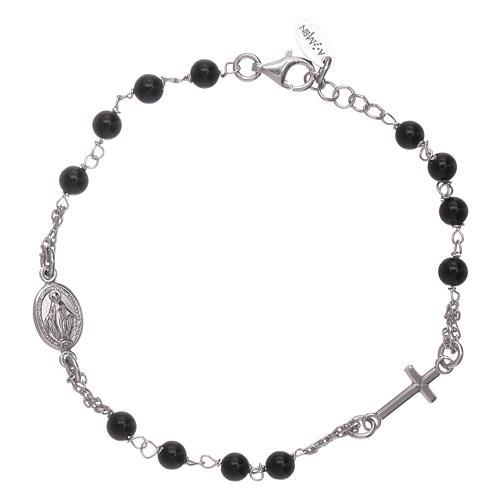 Bracelet chapelet AMEN argent 925 agate noire 1