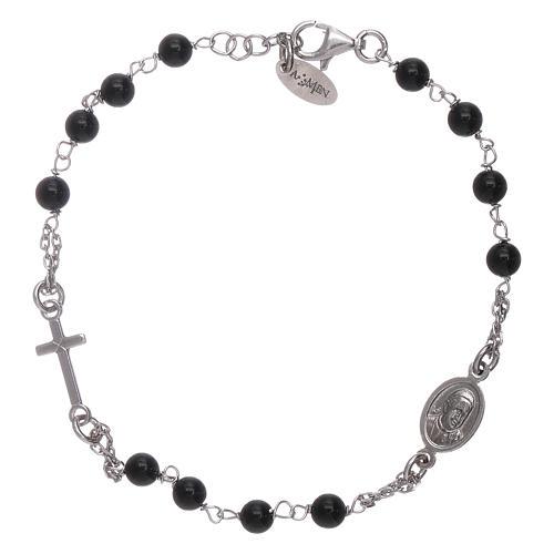 Bracciale rosario Amen arg 925 agata nera 2