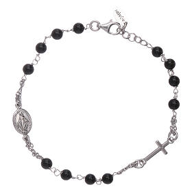 AMEN 925 sterling silver rosary bracelet with black agate beads s1