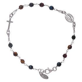 AMEN bracelets: AMEN 925 sterling silver rosary bracelet with tiger's eye beads