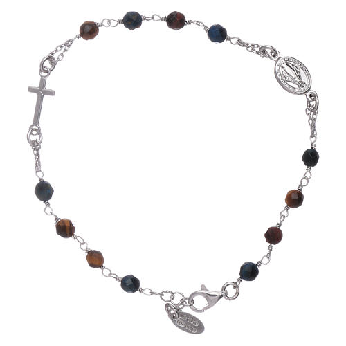 Amen 925 Sterling Silver Rosary Bracelet With Tiger S Eye Online