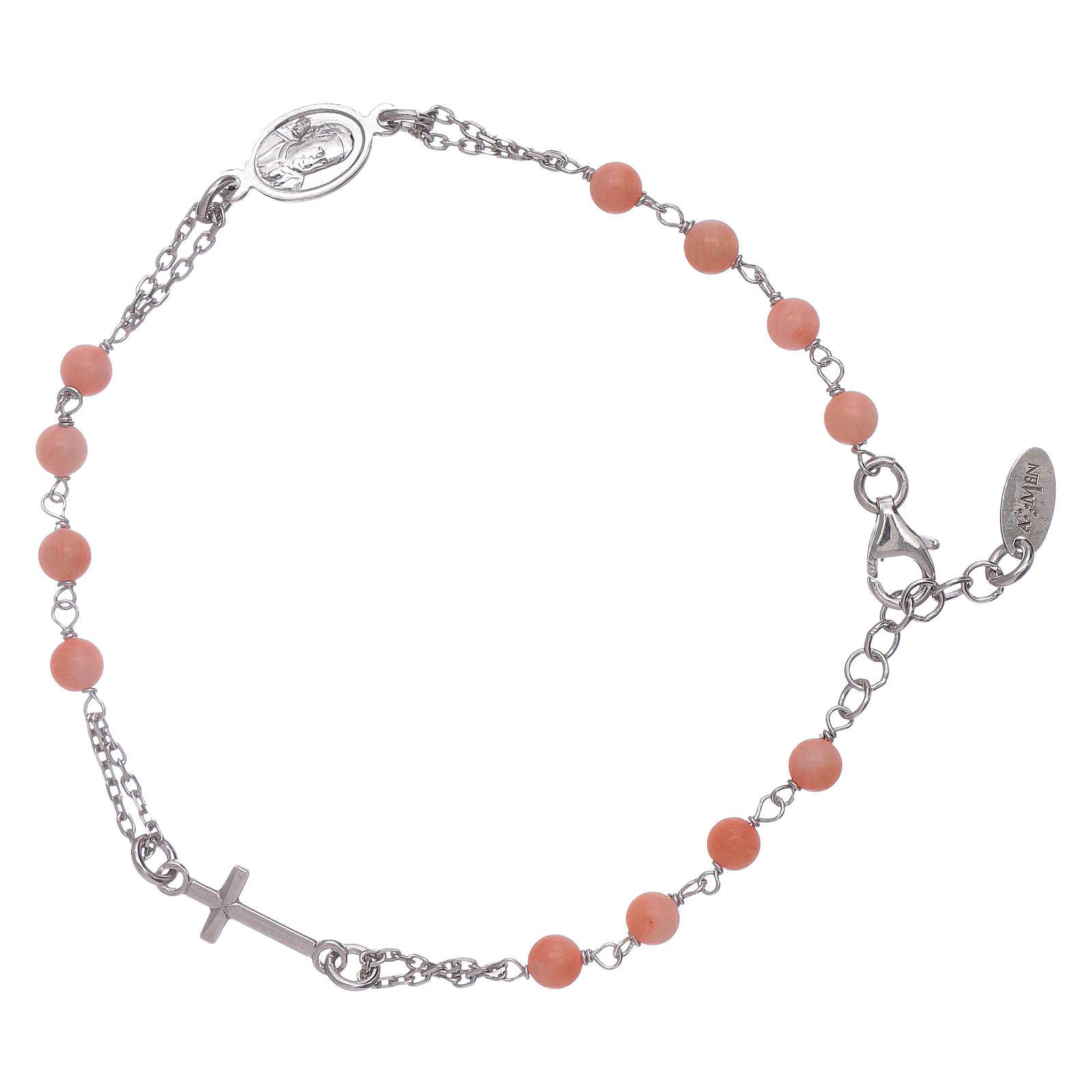 Bracciale rosario Amen arg 925 pietre corallo bambù 4