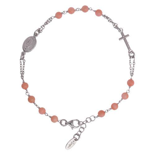 Bracciale rosario Amen arg 925 pietre corallo bambù 1