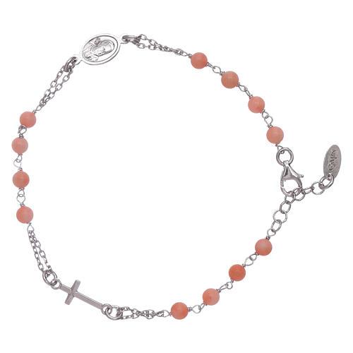 Bracciale rosario Amen arg 925 pietre corallo bambù 2