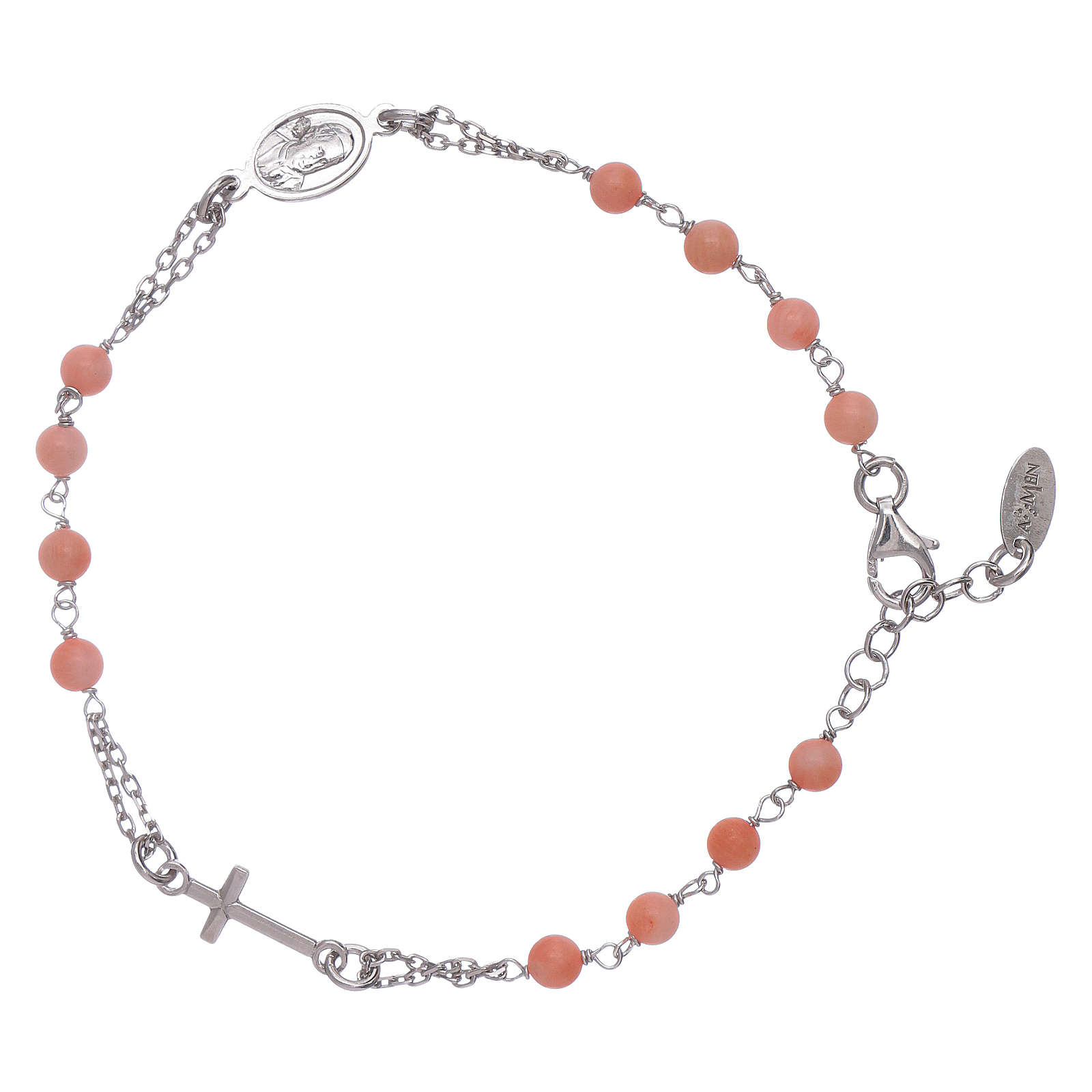 Amen 925 Sterling Silver Rosary Bracelet With Bamboo Coral Online