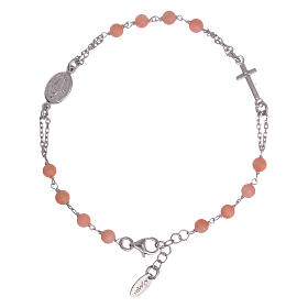 AMEN bracelets: AMEN 925 sterling silver rosary bracelet with bamboo coral beads