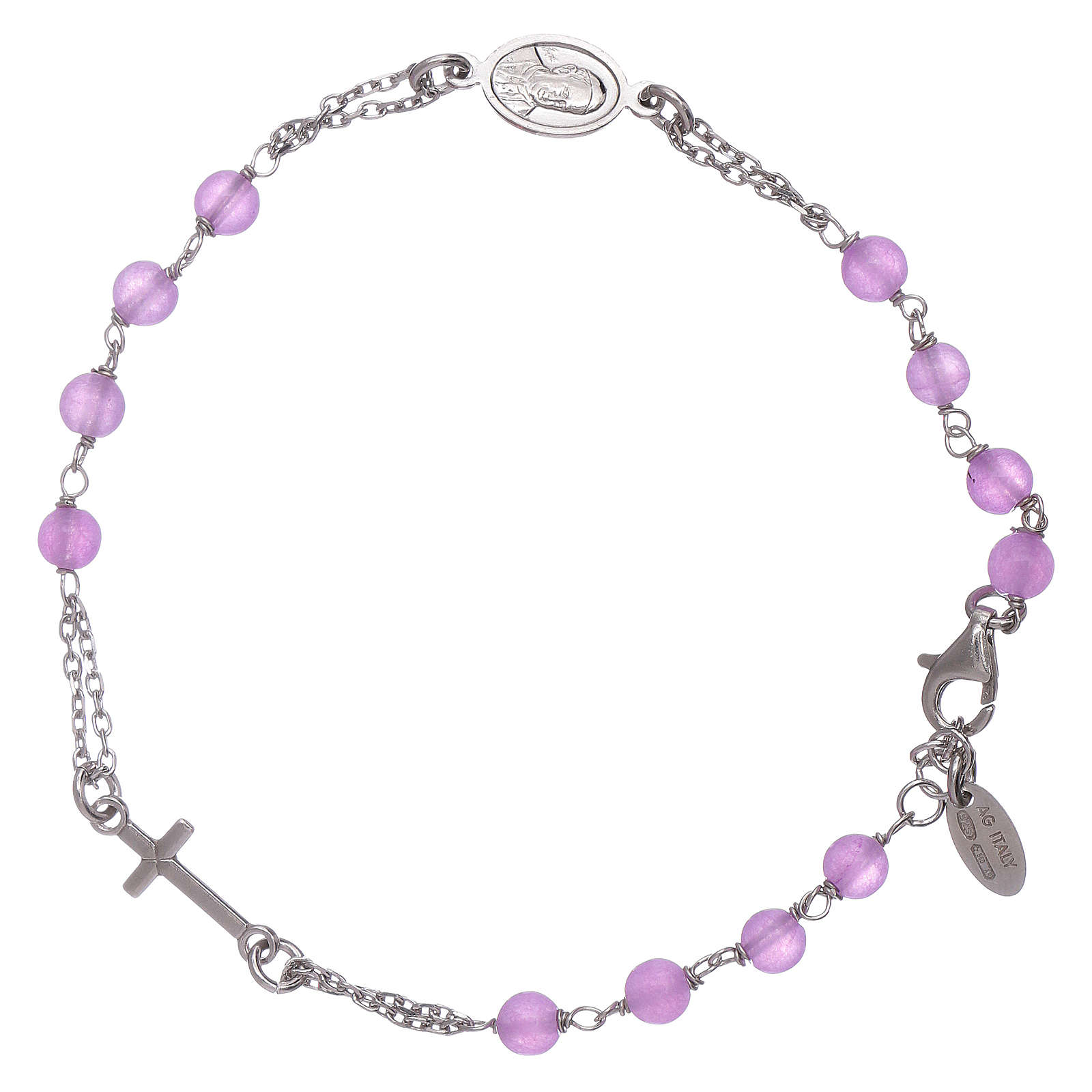 Bracciale rosario in giada lilla Amen arg 925 4