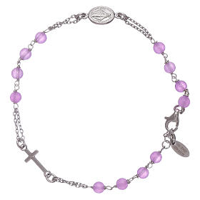 AMEN bracelets: AMEN 925 sterling silver rosary bracelet with lilac jade beads