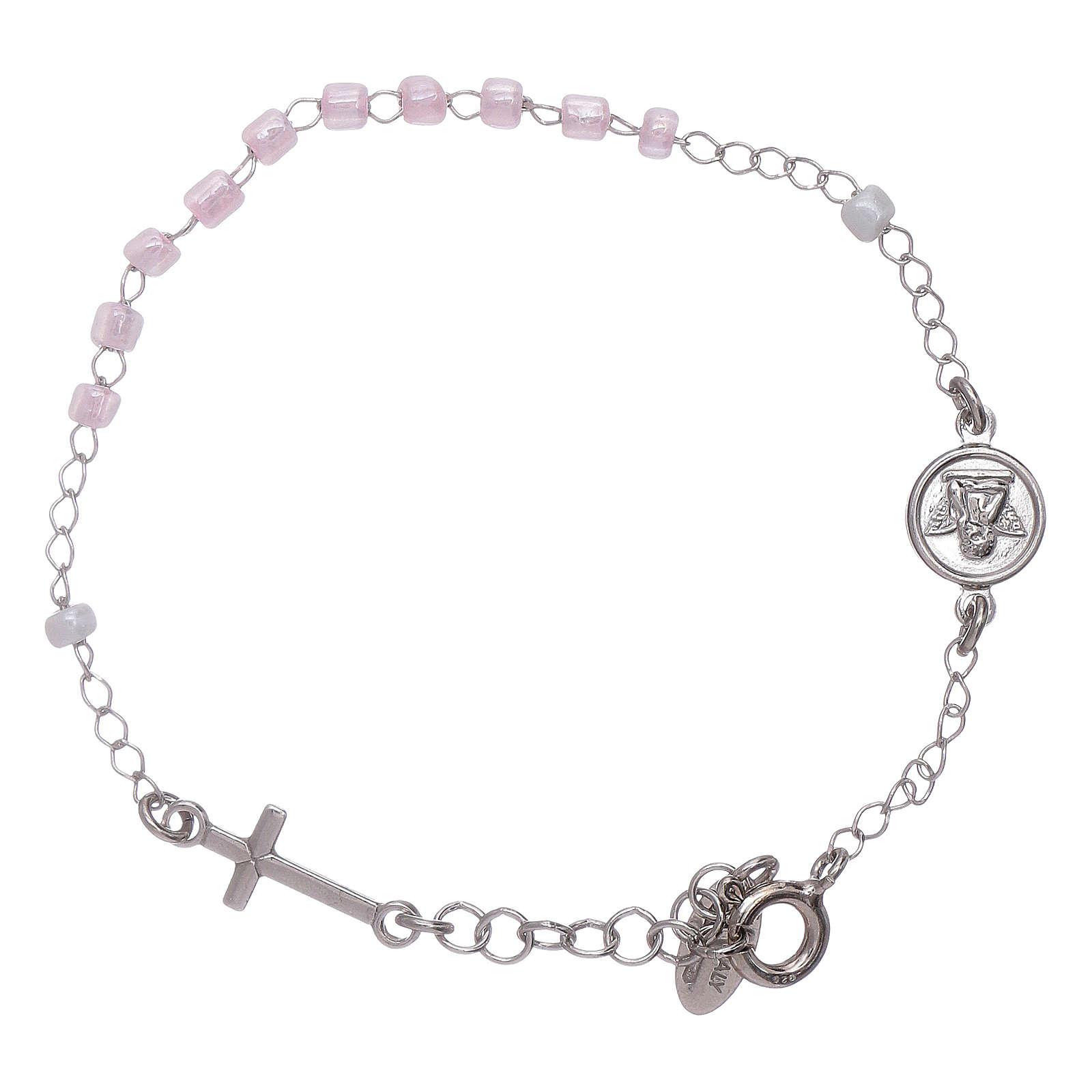 Bracelet chapelet enfant cristaux roses AMEN argent 925 4