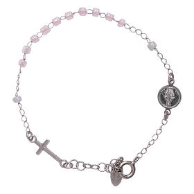 Bracelet chapelet enfant cristaux roses AMEN argent 925 s1