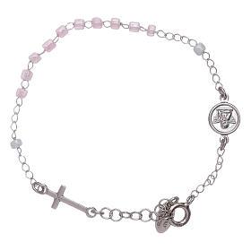 Bracelet chapelet enfant cristaux roses AMEN argent 925 s2