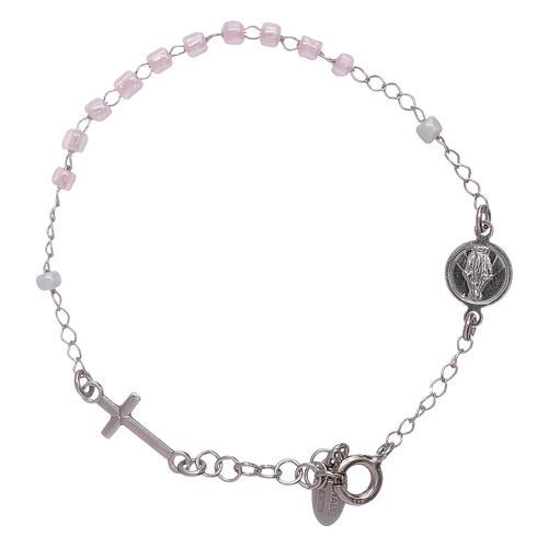 Bracelet chapelet enfant cristaux roses AMEN argent 925 1