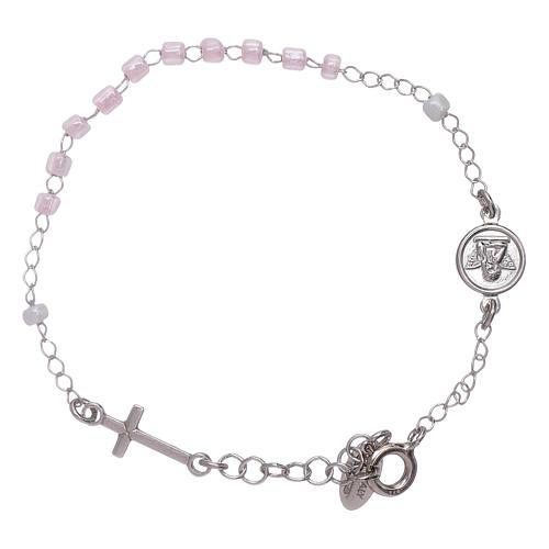 Bracelet chapelet enfant cristaux roses AMEN argent 925 2