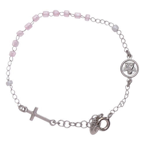 Bracciale rosario Junior cristalli rosa Amen arg 925 2